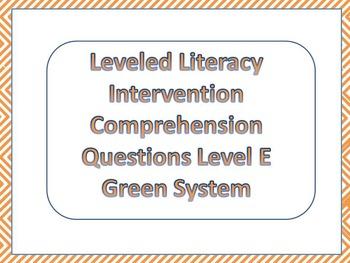 LLI Multiple Choice Comprehension Assessment Level E Green System