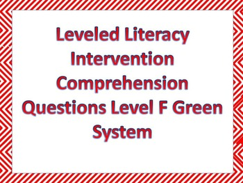 LLI Multiple Choice Comprehension Assessment Level F Green System