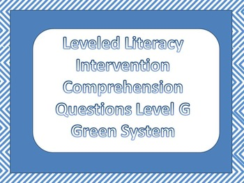 LLI Multiple Choice Comprehension Assessment Level G Green