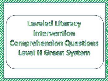 LLI Multiple Choice Comprehension Assessment Level H Green