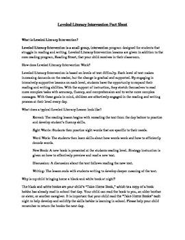 Leveled Literacy Intervention (LLI) Fact Sheet (Green and