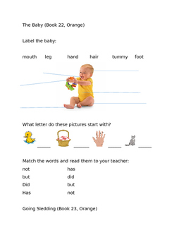 Leveled Literacy Intervention-Orange Level A FREE SAMPLE