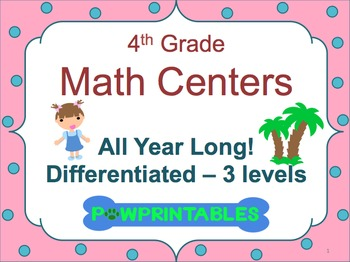 Leveled Math Centers - 4th Grade - All Year Long BUNDLE!