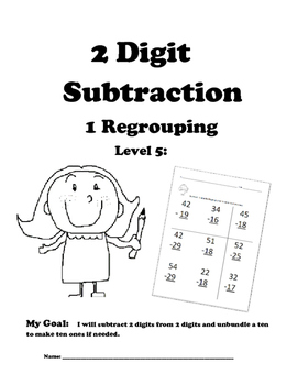 Leveled Math w/ Progress Chart: 2 Digit Subtraction with O