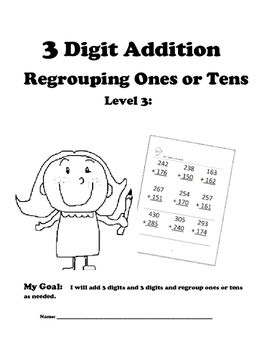 Leveled Math w/ Progress Chart: 3 Digit Addition with Regr
