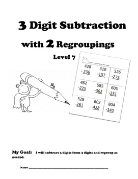 Leveled Math w/ Progress Chart: 3 Digit Subtraction with T