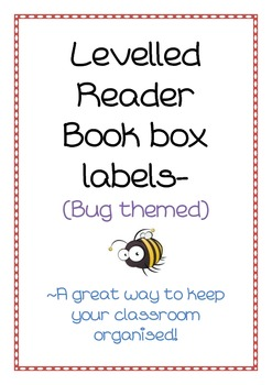 Levelled reader book box labels- bug theme