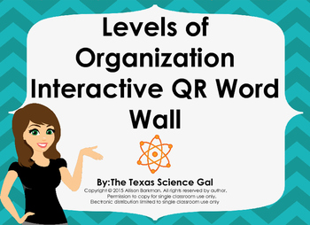 Levels of Organization Interactive QR Word Wall
