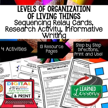 Levels of Organization of Living Things Sequencing, Resear