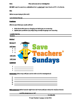 Levers investigation Lesson plan, Writing frame and Graph frame