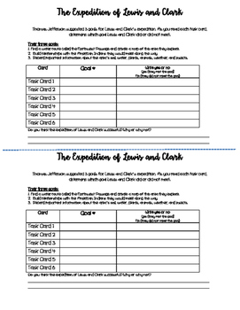 Lewis and Clark Expedition Task Cards