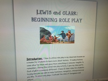 Lewis and Clark: Introductory Role Play For The First Few