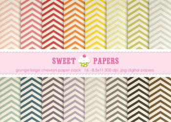 Lg Grunge Chevron Rainbow Colors Digital Paper Pack - by S