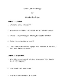 Li Lun Lad of Courage By Carolyn Treffinger Comprehension