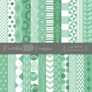 Liam Digital Paper Pack Teal Backgrounds and Patterns Comm