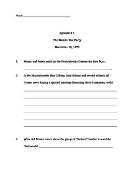 Liberty's Kids Episode #1: worksheet with critical thinkin