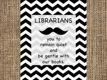 "Librarians ""mustache"" you to remain quiet - Library Rules"