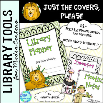Library Binder/Planner COVERS ONLY: Editable Jungle Theme