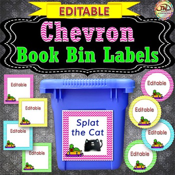 Library Book Bin Labels CHEVRON - EDITABLE