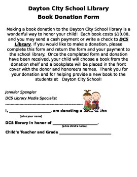 Library Book Donation Form--editable