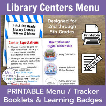 Library Centers Badges & Tracking Booklets + FREE Teacher