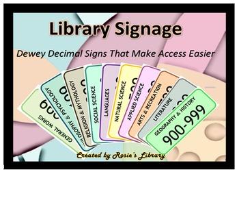 Library Dewey Decimal Signs for Nonfiction