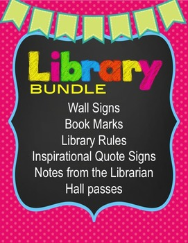 Library Sciences Bundle -Signs, Hall Pass, Book Marks, edi