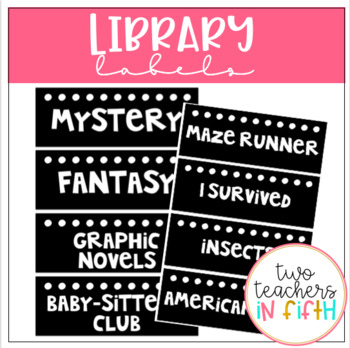 Library Labels- Black and White with Dots {Editable}
