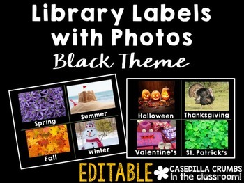 Library Labels By Topic or Category with Photos Black Them