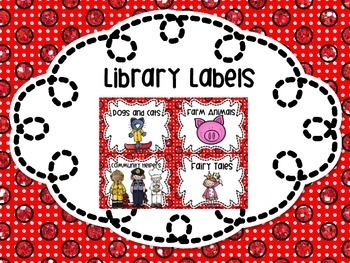 Library Labels By Topic or Category 31 Labels! Red Polka Dots