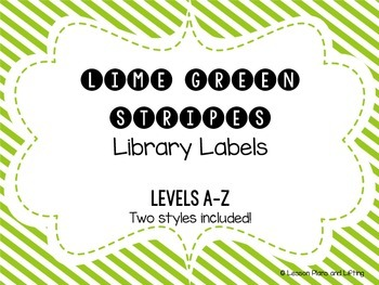 Library Labels - Green Diagonal Stripes