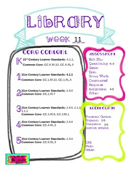 Library Lesson Plans K-5 Week 11