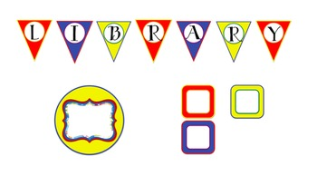 Library Letter Pennants (Primary Colors) with Coordinating