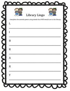 Library Lingo Acrostic Poem