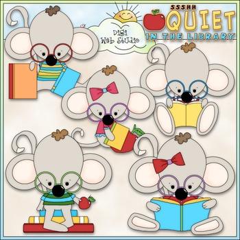 Library Mouse Clip Art - Reading Clip Art - Library Clip A