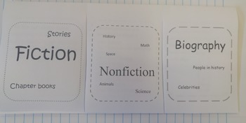 Library Notebook Foldable - Fiction, Nonfiction and Biography