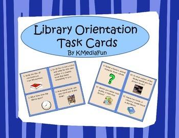 Library Orientation Task Cards by KMediaFun
