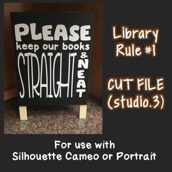 Library Book Rule #1: SVG CUT FILE for Cameo Silhouette (S