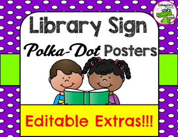 Library Sign Polka-Dot Poster Pack
