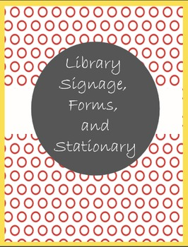 Library Signage, Forms, and Stationary in Yellow and Red P
