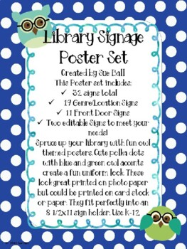 Library Signage Poster Set, Genre and Front Door - With Owls