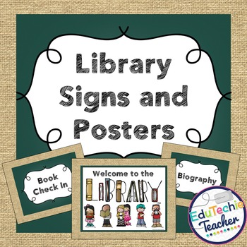Library Signs and Posters {Chalkboard and Burlap} -Include