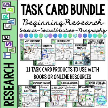 Library Task Card BIG BUNDLE: Biography, Science, Social Studies