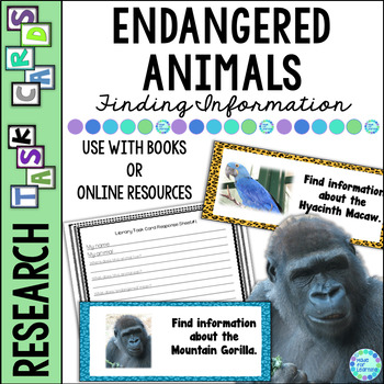 Library Task Cards: Science Research: Endangered Animals