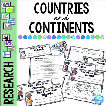 Library Task Cards: Social Studies Research: Countries & C