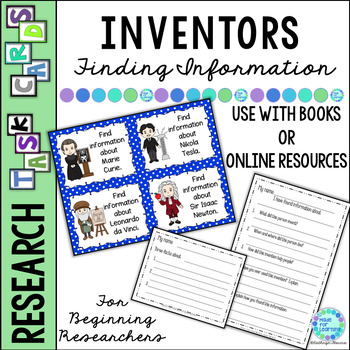 Library Task Cards: Social Studies Research: Inventors