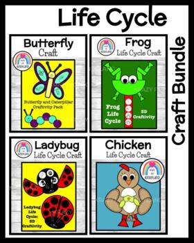 Life Cycle Crafts Value Pack: 3D Frog,Chicken,Butterfly,Ca
