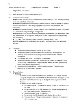 Life Cycle of a Frog CCSS Lesson Plan and Activity