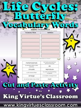 Life Cycles: Butterfly Vocabulary Words Cut and Paste Acti