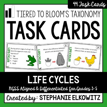 Life Cycles Task Cards (Tiered)
